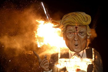 An effigy of U.S. Republican presidential candidate Donald Trump is burnt as part of  bonfire night celebrations in Edenbridge